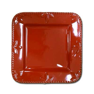 11 In. Square Plate - Ruby