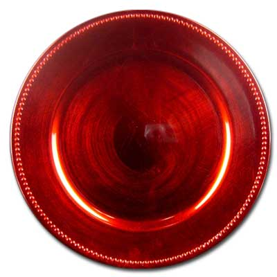 13In. Rnd Red Chrg Plate W/Beads